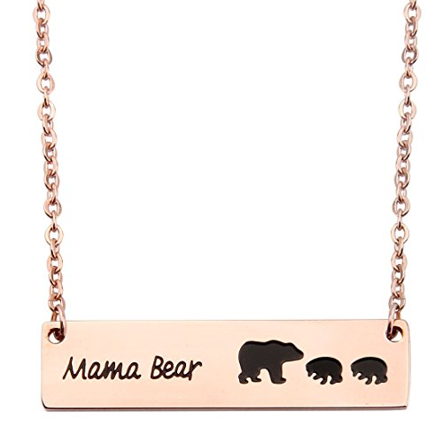 (KUIYAI Sweet Family Mama and Baby Bear Rose Gold Bar Necklace Gift for Mothers with 2 Children (bar 2 Cubs Rose Gold))