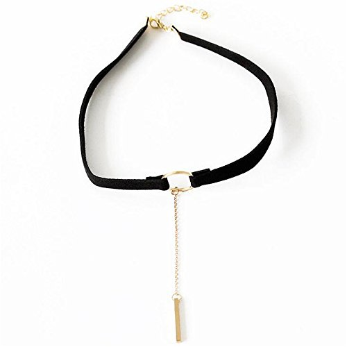 Loweryeah Velvet Clip Simple Round Fringe Collar Clavicle Chain Ms. Neck Jewelry