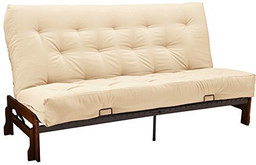 Epic Furnishings Bristol Futon Sofa Sleeper Bed with Walnut Frame and Ivory Mattress, Full