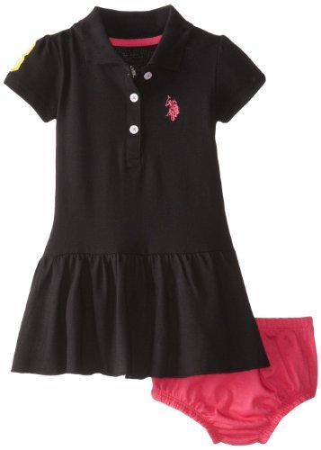 U.S. Polo Assn. Baby de Girls Infant Solid Baby Pique scall oped ...