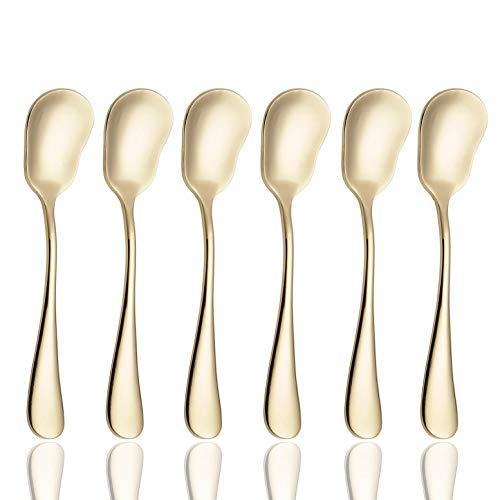 6 Piece Sugar Spoon 5.2-inch Stainless Steel Service for 6 Spoons Table Dinner Flatware Set Table Silverware Dishwasher Safe (Gold)