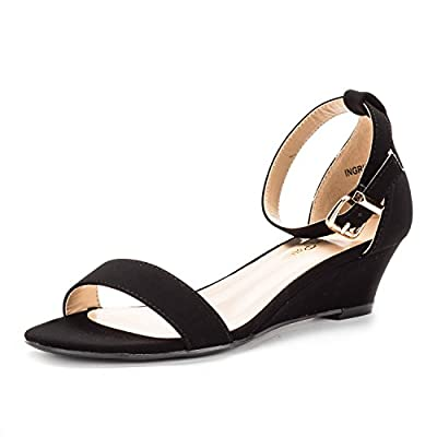 DREAM PAIRS iNGRID New Women Fashion Wear Summer Open Toe Ankle Strap Buckle Thong Design Low Wedge Sandals