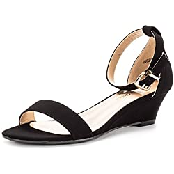 DREAM PAIRS iNGRID New Women Fashion Wear Summer Open Toe Ankle Strap Buckle Thong Design Low Wedge Sandals BLACK NUBUCK SIZE 10