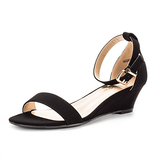 DREAM PAIRS Women's Ingrid Ankle Strap Low Wedge Sandal Black ()