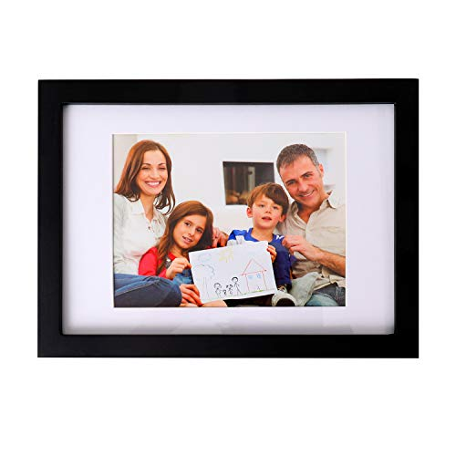 MEMOLIN A4 Picture Frames Black, Solid Wood Photo Frame with Mat and HD Glass for Tabletop Display and Wall Mounting (Black)