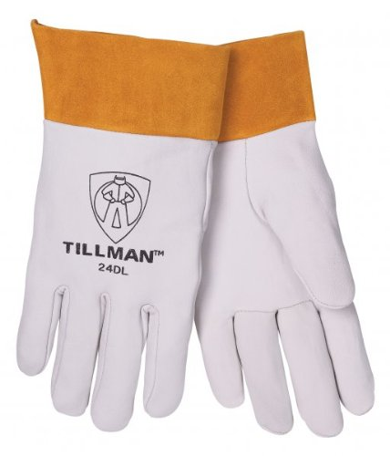 John Tillman TIL24DL Large Pearl Top Grain Kidskin Unlined Premium Grade TIG Welders Gloves with Straight Thumb, 2