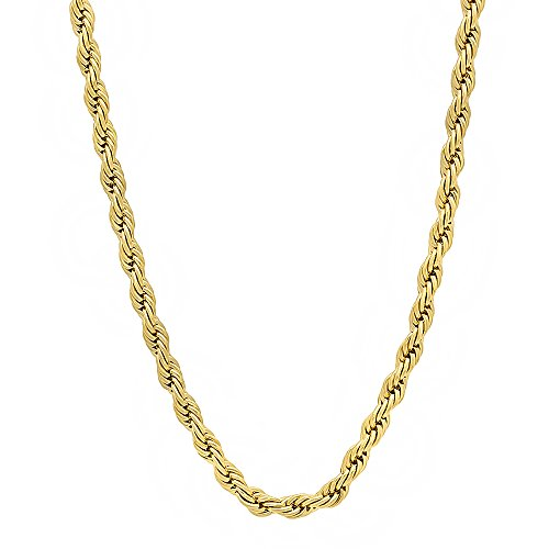 3mm 14k Gold Plated French Rope Chain Necklace, 24