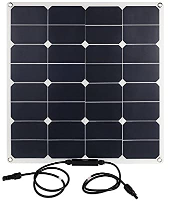 Best Cheap Deal for Lux 50 Watt Solar Panel by Bannock - Semi-flexible, Durable, Light, Mountable, Hangable Solar Power Charging Panel - Includes 2 MC4 Cables & 2 MC4 T-Branch Connectors by Bannock - Free 2 Day Shipping Available