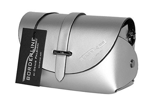 BORDERLINE - 100% Made in Italy - Embrague de Cuero Real - EVELINA P. Plata