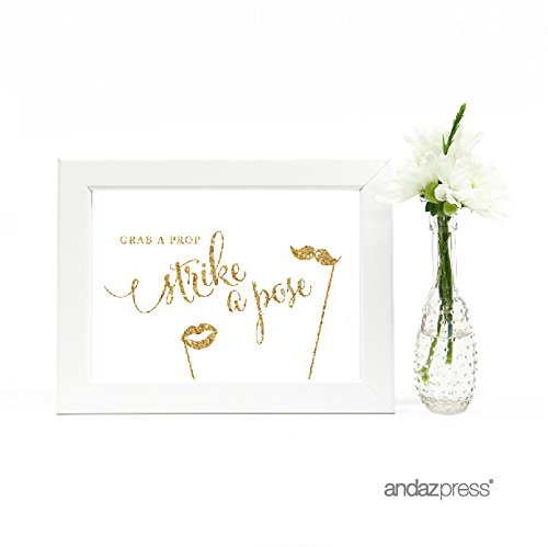 Andaz Press Wedding Framed Party Signs, Gold Glitter Print, 5x7-inch, Grab a Prop & Strike a Pose Photobooth Sign, 1-Pack, Not Real Glitter, Includes Frame (Not Prop)