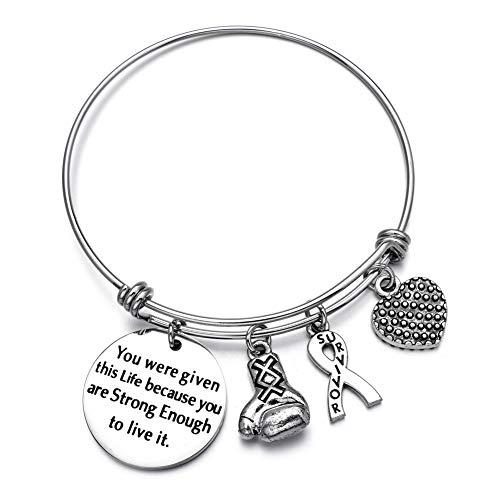 Girl's Gift Breast Cancer Fighter Breast Cancer Awareness Gift Breast Cancer Survior Bracelet Breast Ribbon Bracelet ...