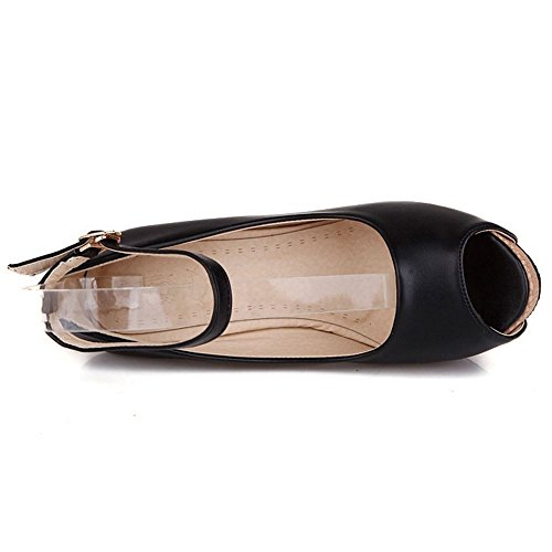 TAOFFEN Mujer Elegante Plataforma Peep Toe Correa de Tobillo Tacon de Cuna Alto Sandalias Negro