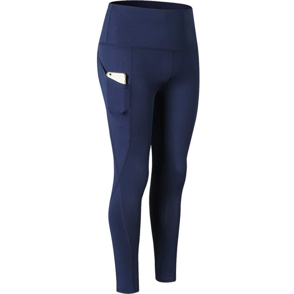 Navy Women's Ultrahigh Waist Yoga Pants, Oblique Pocket Fitness Running Training, Elastic QuickDrying TightFitting Sports Trousers