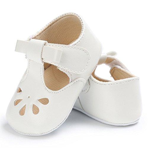 Baby Girls Christening Baptism Mary Jane Soft Sole Classic Hollow Princess Dress Flat Shoes White Size L by LINKEY (Image #3)