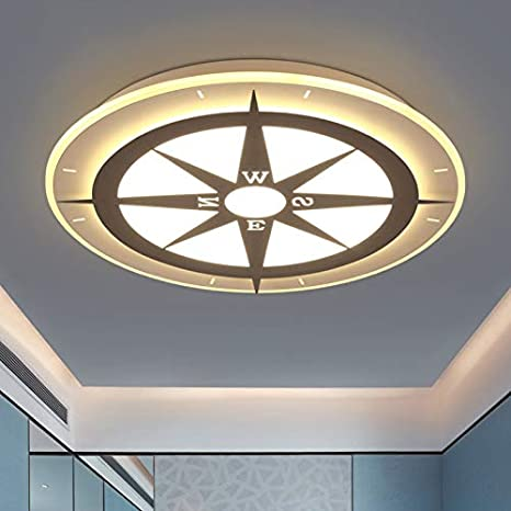 "Amazon.com: LITFAD Modern Art Deco Dimmable LED Ceiling Light Compass Design 20.5"" Wide Flushmount Ceiling Fixture In White Finish For Living Room,Children"