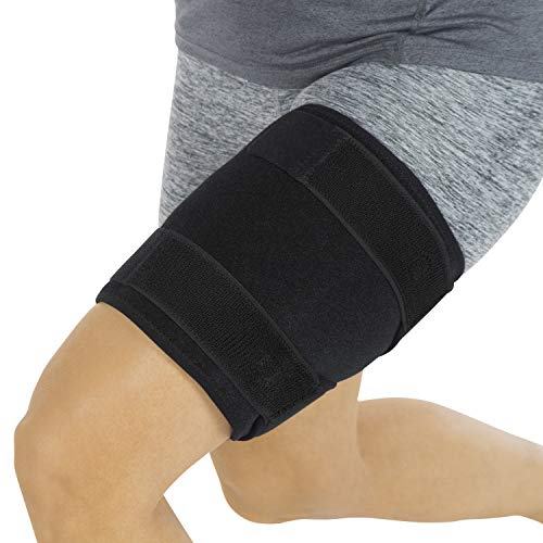 Vive Thigh Brace - Hamstring Quad Wrap - Adjustable Compression Sleeve Support for Pulled Groin Muscle, Sprains, Quadricep, Tendinitis, Workouts, Cellulite Slimmer, Sports Injury Recovery - Men, ()