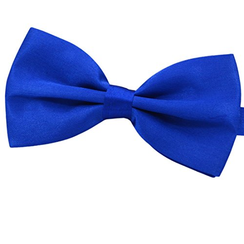 Amajiji Formal Dog Bow Ties for Medium & Large Dogs (D113 100% Polyester) (Blue) (Satin Dog Bow Tie)