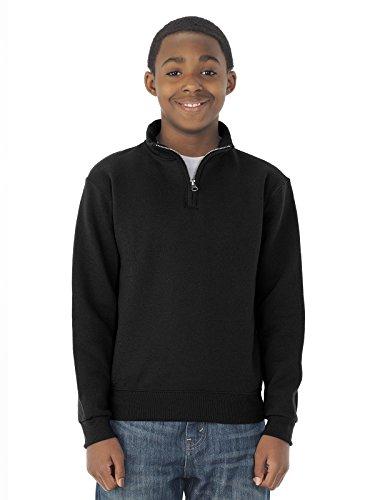 Jerzees boys 8 oz. 50/50 NuBlend Quarter-Zip Cadet Collar Sweatshirt(995Y)-BLACK-M
