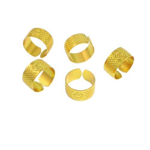 Reeded Wood (Water & Wood 5 Pcs 21mm Diameter Gold Tone Metal Ring Reeded Thimble for Tailoring Sewing)