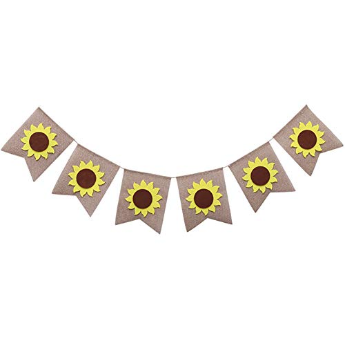 (DierCosy Sunflower Banner Burlap Banner Flag for Birthday Party or Daily Home or Office Decorations 1PCS)
