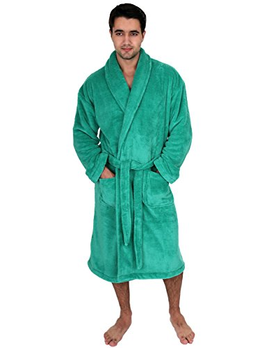 TowelSelections Men's Super Soft Plush Bathrobe Fleece Spa Robe Medium/Large Aqua (Green Mens Robe)