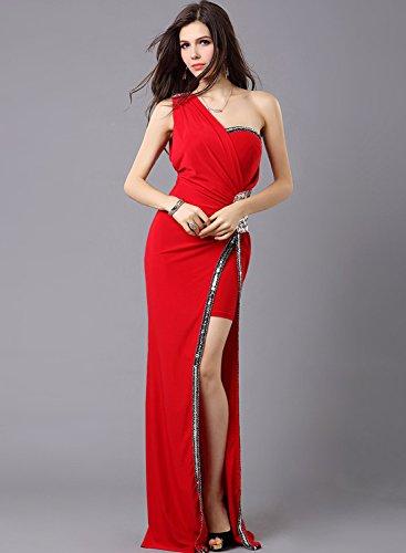 Asvogue Une Épaule Robe De Demoiselle D'honneur Robe De Bal Du Soir De Fente Latérale Rouge Des Femmes