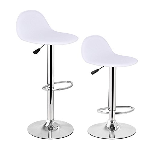 Adjustable Modern Bar Stools Set of 2 Diner Seat Chairs White by Tamsun