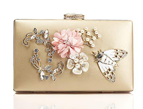 Goldina Flower Clutches Evening Bags Handbags Evening Bags Chain Handbags with Pearls Beaded