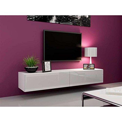 JUSThome Vigo Lowboard TV-Board Fernsehtisch 180 cm Farbe: Weiß Matt / Weiß Hochglanz