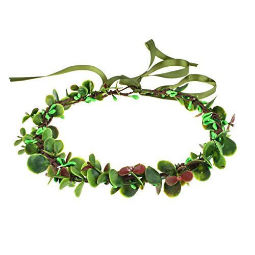 DDazzling Gold Leaf Crown Flower Girl Green Leaves Crown Floral Hair Wreath Photo Props (Green and Red) (Winter Red Berry Wreath)