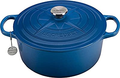Le Creuset Marseille Blue Enameled Cast Iron Mariner Star 5.5 Quart Round French Oven