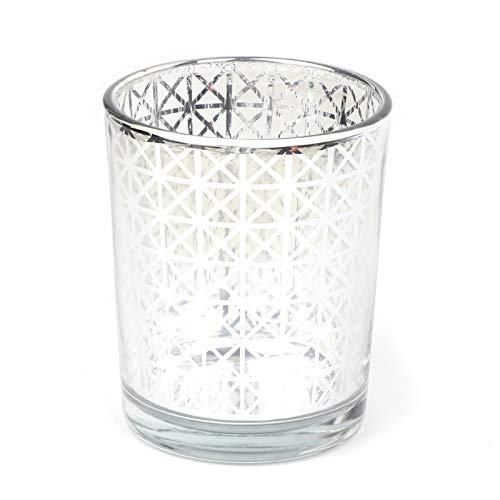 Argento YoungerY Bicchiere Porta Candela in Vetro Argento Plaid