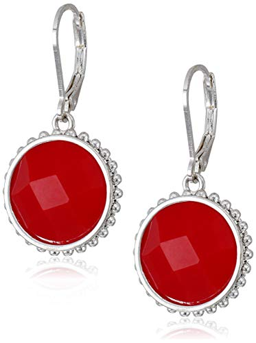 Napier Women's Silver Red Leverback Circle Drop Earrings