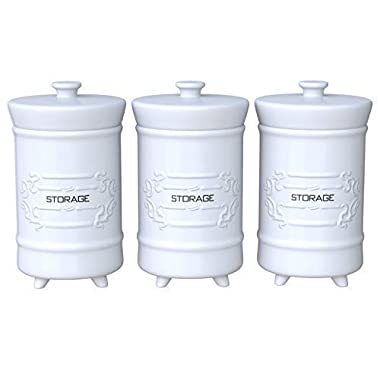 French Design White Ceramic Canister Set for Kitchen - Set of 3 Decorative Storage Containers with Airtight Lids for Coffee, Sugar & More - Country Style Storage for Kitchen Essentials - 12oz/Canister