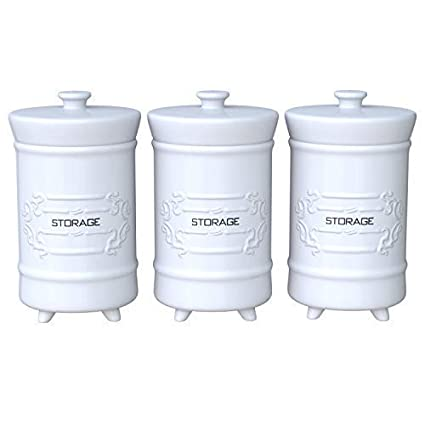 French Design White Ceramic Canister Set For Kitchen Set Of 3 Decorative Storage Containers With Airtight Lids For Coffee Sugar More Shabby