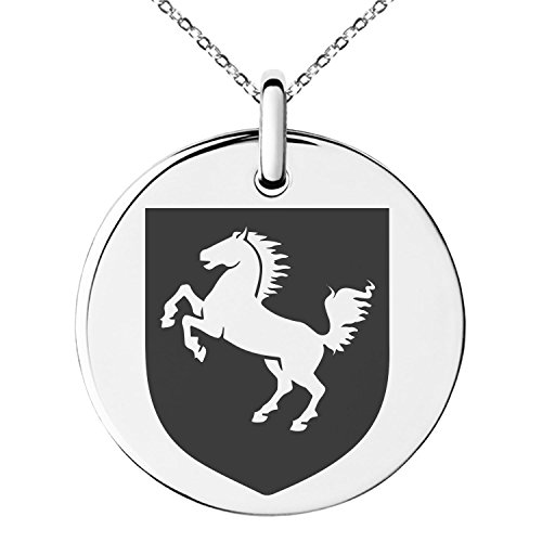 (Tioneer Stainless Steel Horse Battle Coat of Arms Shield Symbol Engraved Small Medallion Circle Charm Pendant Necklace)