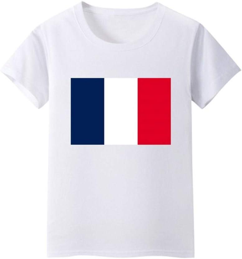 Daqin Bandera Francesa Camisa De Manga Corta Niños Y Niñas Servicio De Clase Actividades De Rendimiento En La Escuela Primaria Camiseta De La Cultura Ropa Bebé (Color : Blanco, Tamaño : 175cm):