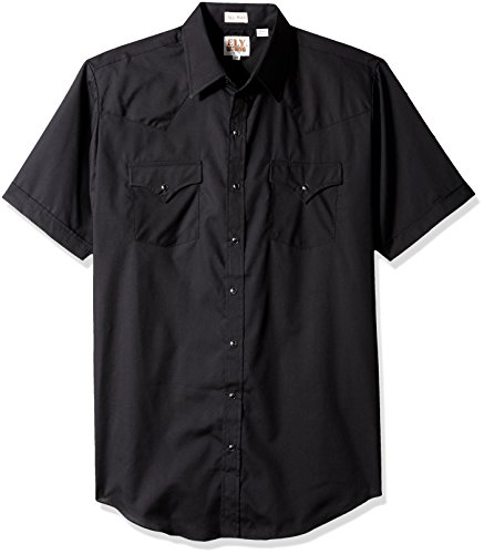 (Ely & Walker Men's Size Short Sleeve Solid Western Shirt-Tall, Black, Large)