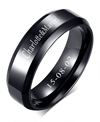 XUANPAI Free-Engraving Stainless Steel Classic Polish Finished Plain Engagement Wedding Band Ring,9