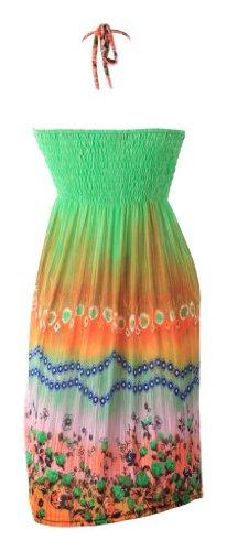 Funky corto diseño de impresión de estampado de flores con hasta la rodilla con cuentas de cuello halter Summer Day e instrucciones para hacer vestidos Green Orange Pink