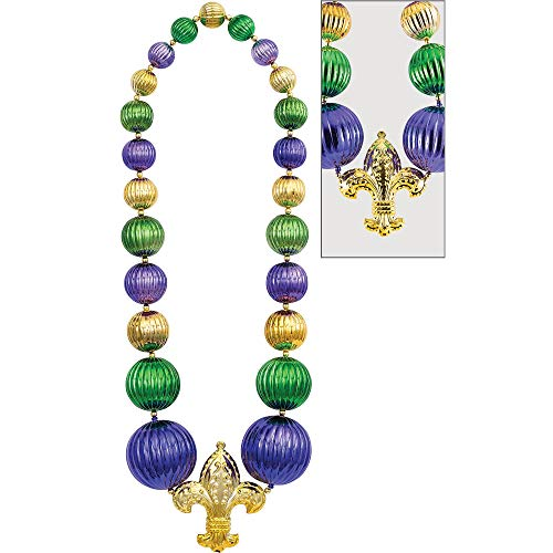 Giant Fleur de Lis Bead Party Necklace, 60