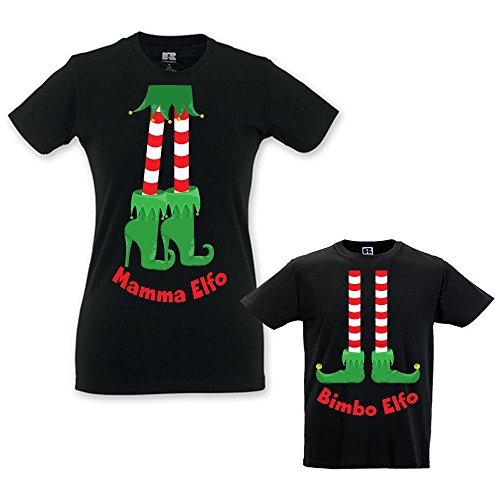 Coppia di T-shirt Mamma Bambino Idea Regalo di Natale Elfi Family Nere Maschietto Donna S - Bimbo 7-8 Anni
