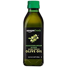 AmazonFresh Mediterranean Extra Virgin Olive Oil, 16.9 fl oz (500mL) 100 Buttery, mild flavor Product of Greece, Italy and Spain Sourced from growers in the Mediterranean region; bottled in Italy