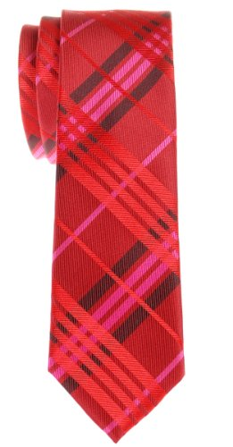 Retreez Stylish Tartan Plaid Check Woven Microfiber Skinny Tie - Red Wine (Polyester Red Plaid Tie)