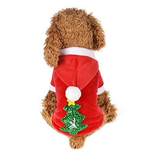 Futemo Christmas Pet Hoodie Coat Xmas Warm Jacket Supplies Clothes Outfits for Small Dog Cat Puppy Winter Apparels (L, Red)