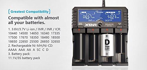 XTAR DRAGON VP4 Plus Caricabatterie//Tester a 4 Canali Batterie Litio-Ion e Ni-MH