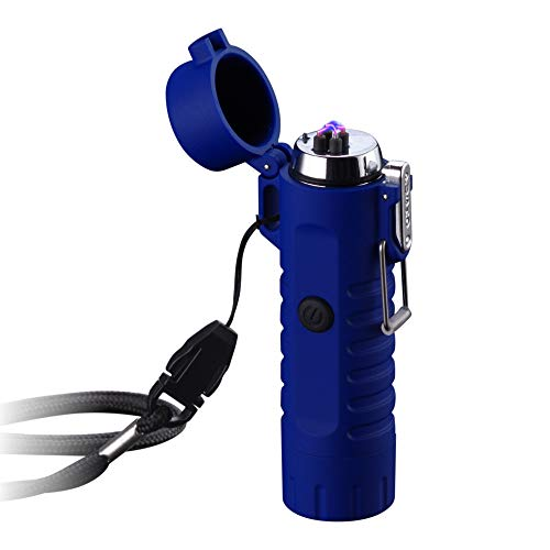 Dual Arc Lighter with Flashlight Double Plasma USB Rechargeable Flameless Waterproof Windproof Mini Electric Lighter for Cigar Candle Cigarette Pipe (Blue Double Arc Lighter with Flashlight)