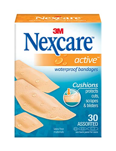 3m Bandages Nexcare - Nexcare Active Extra Cushion Bandages, Seals Out Water, Dirt and Germs, Stretchy, Assorted Sizes, 30 Count Packages (Pack of 4)