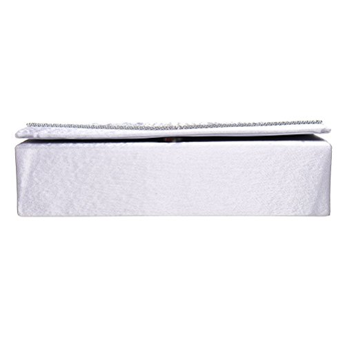 Party Clutch Purses Envelope Clutch Wedding FASHIONROAD Silver Satin Womens Crystal Evening And For CdqAw1A