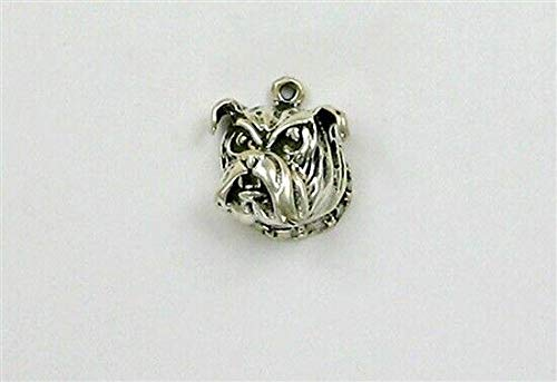 - Pendant Jewelry Making/Chain Pendant/Bracelet Pendant Sterling Silver Bull Dog Head Charm